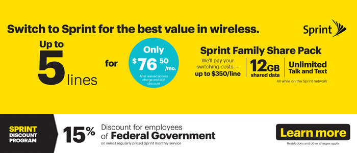 Sprint Federal Employee Discount at GovernmentShopping.com